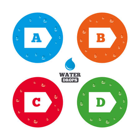 d mark: Water drops on button. Energy efficiency class icons. Energy consumption sign symbols. Class A, B, C and D. Realistic pure raindrops on circles. Vector Illustration