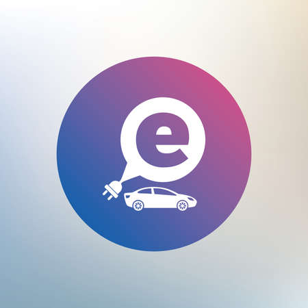 transport icon: Electric car sign icon. Sedan saloon symbol. Electric vehicle transport. Icon on blurred background. Vector Illustration