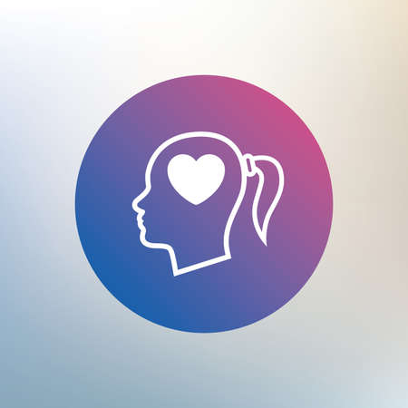 pigtail: Head with heart sign icon. Female woman human head in love with pigtail symbol. Icon on blurred background. Vector Illustration