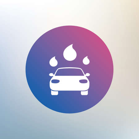 automated: Car wash icon. Automated teller carwash symbol. Water drops signs. Icon on blurred background. Vector