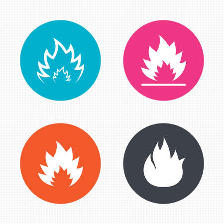 inflammable: Circle buttons. Fire flame icons. Heat symbols. Inflammable signs. Seamless squares texture. Vector