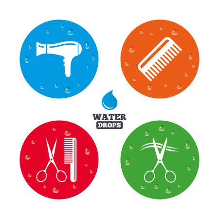 blow drying: Water drops on button. Hairdresser icons. Scissors cut hair symbol. Comb hair with hairdryer sign. Realistic pure raindrops on circles. Vector