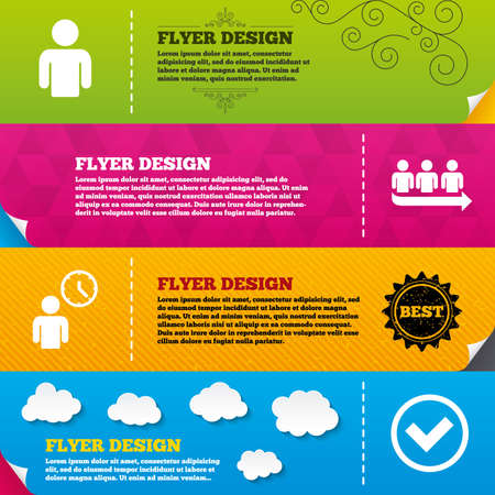 time frame: Flyer brochure designs. Queue icon. Person waiting sign. Check or Tick and time clock symbols. Frame design templates. Vector
