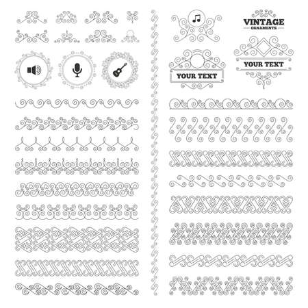 musical ornaments: Vintage ornaments. Flourishes calligraphic. Musical elements icons. Microphone and Sound speaker symbols. Music note and acoustic guitar signs. Invitations elements. Vector