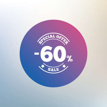 sixty: 60 percent discount sign icon. Sale symbol. Special offer label. Icon on blurred background. Vector