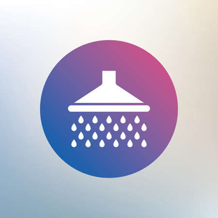 washstand: Shower sign icon. Douche with water drops symbol. Icon on blurred background. Vector