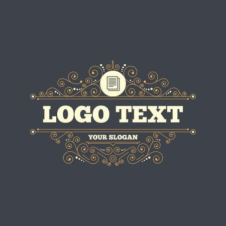 duplicate: Copy file sign icon. Duplicate document symbol. Flourishes calligraphic ornament. Vector