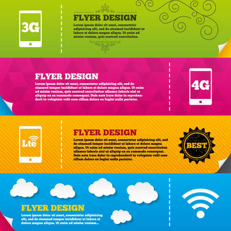 lte: Flyer brochure designs. Mobile telecommunications icons. 3G, 4G and LTE technology symbols. Wifi Wireless and Long-Term evolution signs. Frame design templates. Vector Illustration