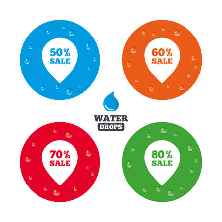 50 to 60: Water drops on button. Sale pointer tag icons. Discount special offer symbols. 50%, 60%, 70% and 80% percent sale signs. Realistic pure raindrops on circles. Vector