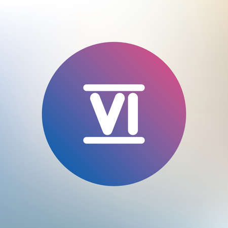 numeral: Roman numeral six sign icon. Roman number six symbol. Icon on blurred background. Vector Illustration