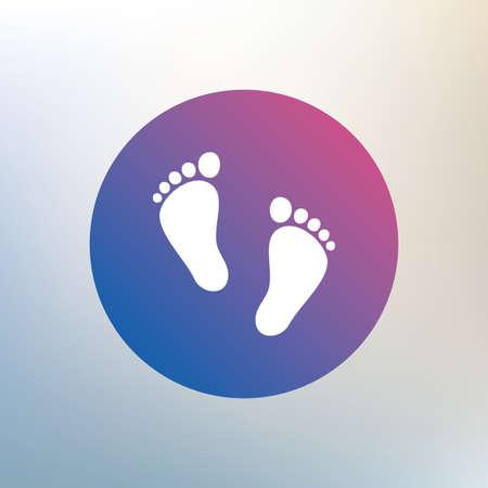 자식 발자국 기호 아이콘 쌍입니다. 유아 맨발 기호입니다. 아기의 첫 걸음. 배경 흐리게에 아이콘입니다. 벡터