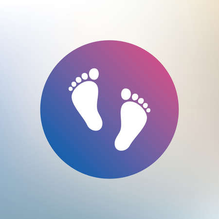 Child pair of footprint sign icon. Toddler barefoot symbol. Babys first steps. Icon on blurred background. Vector Illustration
