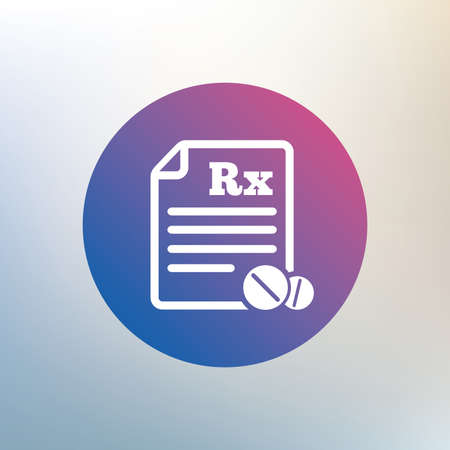 rx: Medical prescription Rx sign icon. Pharmacy or medicine symbol. With round tablets. Icon on blurred background. Vector