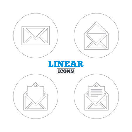 Mail envelope icons. Message document symbols. Post office letter signs. Linear outline web icons. Vector Illustration