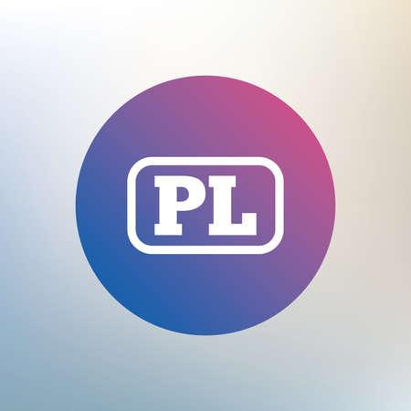 pl: Polish language sign icon. PL translation symbol with frame. Icon on blurred background. Vector