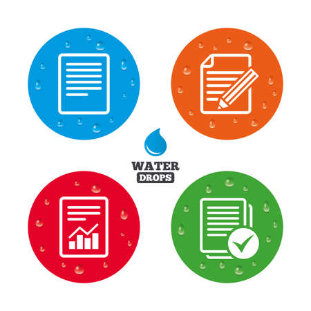 documents: Water drops on button. File document icons. Document with chart or graph symbol. Edit content with pencil sign. Select file with checkbox. Realistic pure raindrops on circles. Vector