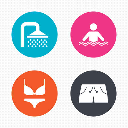 underwear: Circle buttons. Swimming pool icons. Shower water drops and swimwear symbols. Human stands in sea waves sign. Trunks and women underwear. Seamless squares texture. Vector