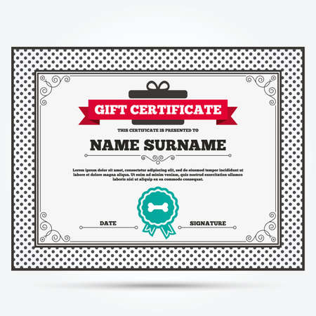 dog gift: Gift certificate. Dog bone sign icon. Pets food symbol. Template with vintage patterns. Vector