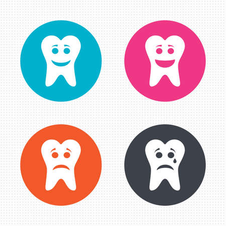 happy sad: Circle buttons. Tooth happy, sad and crying faces icons. Dental care signs. Healthy or unhealthy teeth symbols. Seamless squares texture. Vector