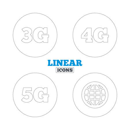 4g: Mobile telecommunications icons. 3G, 4G and 5G technology symbols. World globe sign. Linear outline web icons. Vector