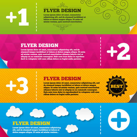 append: Flyer brochure designs. Plus icons. Positive symbol. Add one, two, three and four more sign. Frame design templates. Vector Illustration