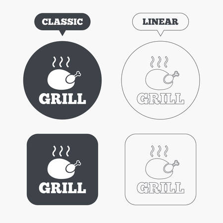 chicken grill: Roast chicken grill sign icon. Hen bird meat symbol. Classic and line web buttons. Circles and squares. Vector Illustration