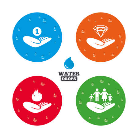 protection incendie: Water drops on button. Helping hands icons. Financial money savings, family life insurance symbols. Diamond brilliant sign. Fire protection. Realistic pure raindrops on circles. Vector