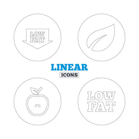 lowfat: Low fat arrow icons. Diets and vegetarian food signs. Apple with leaf symbol. Linear outline web icons. Vector Illustration