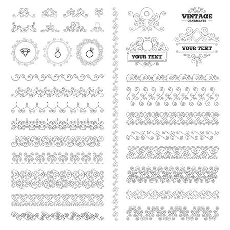 diamond rings: Vintage ornaments. Flourishes calligraphic. Rings icons. Jewelry with shine diamond signs. Wedding or engagement symbols. Invitations elements. Vector