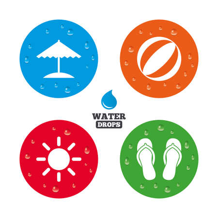 flipflops: Water drops on button. Beach holidays icons. Ball, umbrella and flip-flops sandals signs. Summer sun symbol. Realistic pure raindrops on circles. Vector
