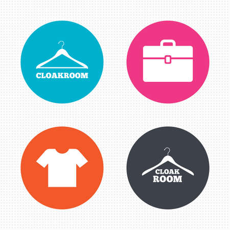 cloakroom: Circle buttons. Cloakroom icons. Hanger wardrobe signs. T-shirt clothes and baggage symbols. Seamless squares texture. Vector