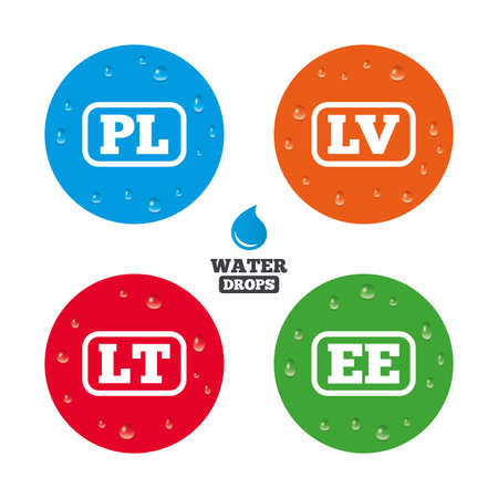 lt: Water drops on button. Language icons. PL, LV, LT and EE translation symbols. Poland, Latvia, Lithuania and Estonia languages. Realistic pure raindrops on circles. Vector