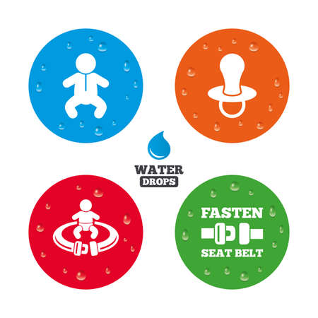 baby toilet seat: Water drops on button. Baby infants icons. Toddler boy with diapers symbol. Fasten seat belt signs. Child pacifier and pram stroller. Realistic pure raindrops on circles. Vector Illustration