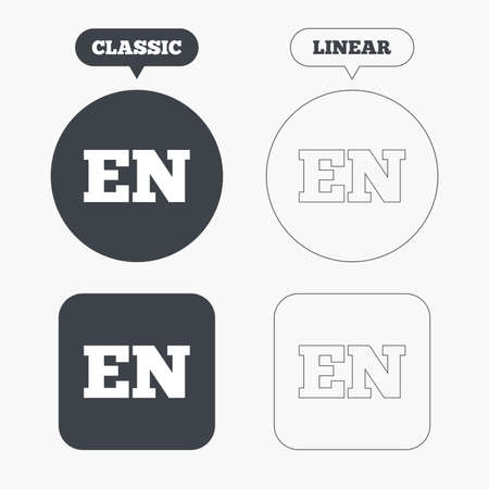 english language: English language sign icon. EN translation symbol. Classic and line web buttons. Circles and squares. Vector Illustration