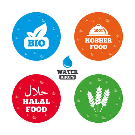 kosher: Water drops on button. Natural Bio food icons. Halal and 100% Kosher signs. Gluten free agricultural symbol. Realistic pure raindrops on circles. Vector