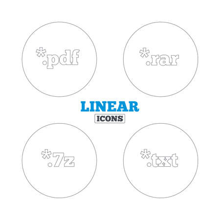 extensions: Document icons. File extensions symbols. PDF, RAR, 7z and TXT signs. Linear outline web icons. Vector