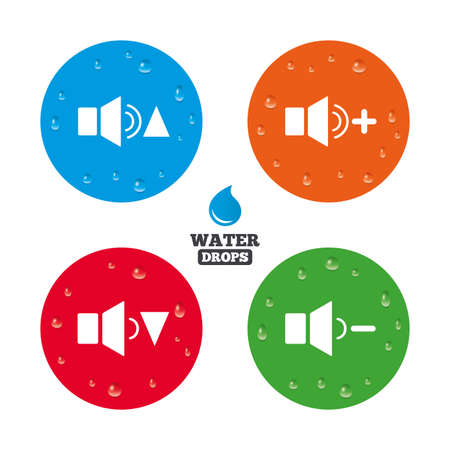 quieter: Water drops on button. Player control icons. Sound louder and quieter signs. Dynamic symbol. Realistic pure raindrops on circles. Vector