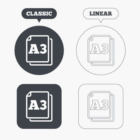 a3: Paper size A3 standard icon. File document symbol. Classic and line web buttons. Circles and squares. Vector