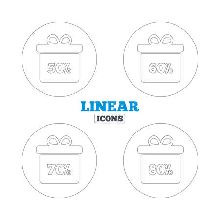 50 to 60: Sale gift box tag icons. Discount special offer symbols. 50%, 60%, 70% and 80% percent discount signs. Linear outline web icons. Vector