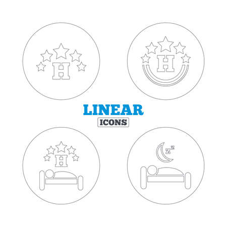 five stars: Five stars hotel icons. Travel rest place symbols. Human sleep in bed sign. Linear outline web icons. Vector Illustration