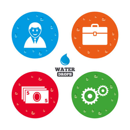 diplomat: Water drops on button. Businessman icons. Human silhouette and cash money signs. Case and gear symbols. Realistic pure raindrops on circles. Vector
