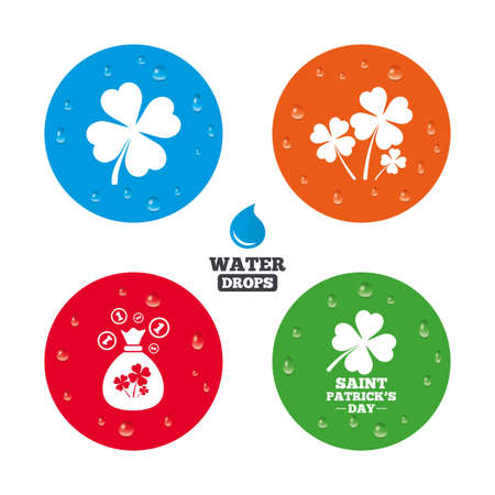 feast of saint patrick: Water drops on button. Saint Patrick day icons. Money bag with clovers and coins sign. Symbol of good luck. Realistic pure raindrops on circles. Vector Illustration