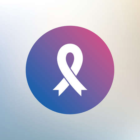 cancer ribbon: Ribbon sign icon. Breast cancer awareness symbol. Icon on blurred background. Vector