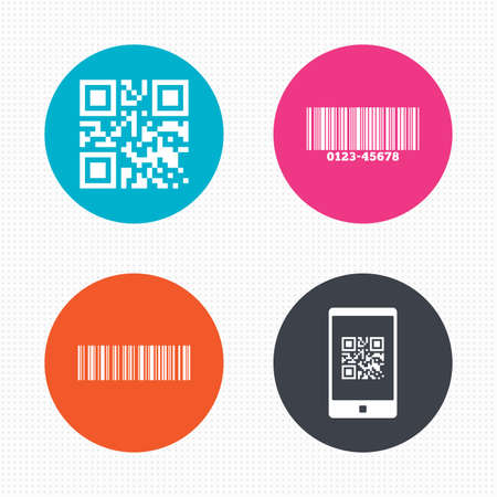 barcode scan: Circle buttons. Bar and Qr code icons. Scan barcode in smartphone symbols. Seamless squares texture. Vector