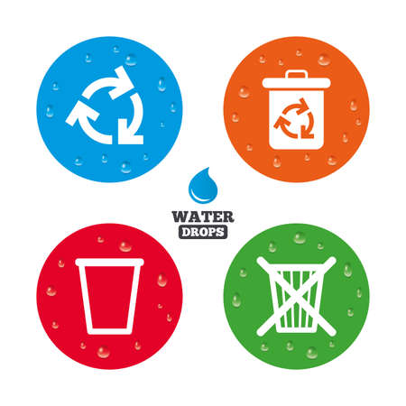 reduce reuse recycle: Water drops on button. Recycle bin icons. Reuse or reduce symbols. Trash can and recycling signs. Realistic pure raindrops on circles. Vector