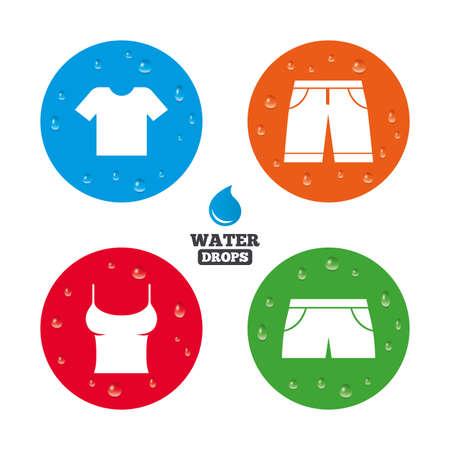 Wassertropfen auf der Taste. Kleidung Symbole. T-Shirt und Bermuda-Shorts Zeichen. Badehose Symbol. Realistische pure regentropfen auf Kreise. Vektor Standard-Bild - 42241545