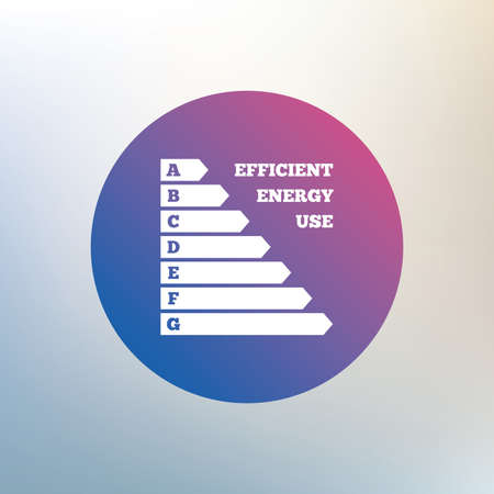 consumption: Energy efficiency sign icon. Electricity consumption symbol. Icon on blurred background. Vector