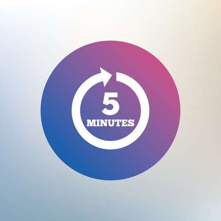every: Every 5 minutes sign icon. Full rotation arrow symbol. Icon on blurred background. Vector Illustration