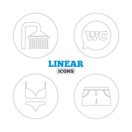 women in underwear: Swimming pool icons. Shower water drops and swimwear symbols. WC Toilet speech bubble sign. Trunks and women underwear. Linear outline web icons. Vector Illustration