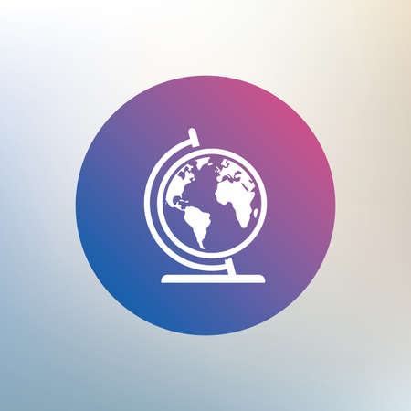 geography background: Globe sign icon. World map geography symbol. Globe on stand for studying. Icon on blurred background. Vector